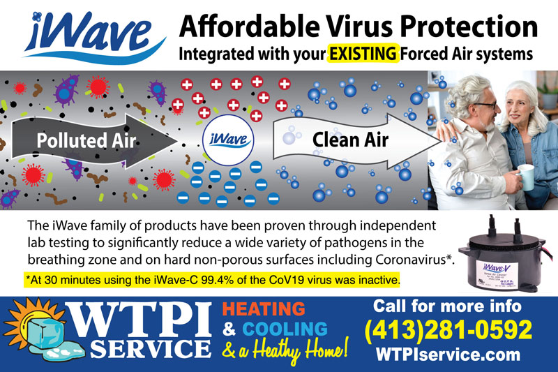 Advert for iWave air purification systems. - The iWave family of products have been proven through independent lab testing to significantly reduce a wide variety of pathogens in the  breathing zone and on hard non-porous surfaces including Coronavirus*.